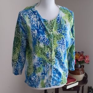 Cable & Gauge Blue & Green Print Cardigan Sweater